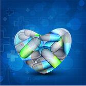 Sağlık arka kapsül bir kalp şeklinde olan. eps 10. — Stok Vektör