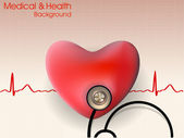 Cardiogram with red heart and stethoscope. EPS 10. — Stock Vector