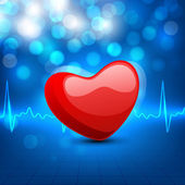 Cardiogram with red heart shape on blue background. EPS 10. — Stock Vector
