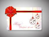 赤いリボンと幸せな新年のお祝いのためのギフトカード。eps 10 — ストックベクタ