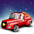 Santa riding Christmas car loaded with gifts. EPS 10. — Stock Vector