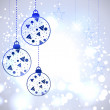Christmas card or background with decorative eve balls, snowflak - Stock vektor