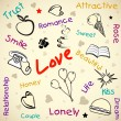 Beautiful valentine background with creative text love. EPS 10. — Stock Vector