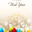 Royalty-Free Stock Vektorfiler: New Year clock, time is bring to celebration with snowflakes and