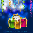 New Year clock, time is bring to celebration with gift boxes. EP — Stock Vector