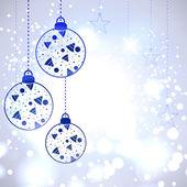 рождественская открытка или фон с декоративной ева шарики, snowflak — Cтоковый вектор