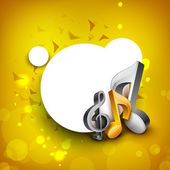 Abstract golden musical note on rays background. EPS 10. — Stock Vector