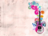 Abstract musical background with guitar and florals. EPS 10. — Stock Vector