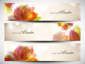 Website header or banner set with beautiful floral design. EPS 1 — Cтоковый вектор