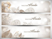 Website header or banner set with beautiful floral design. EPS 1 — Stock Vector