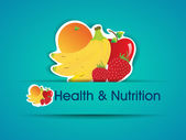Health and Nutrition sticker with organic food. EPS 10. — Stock Vector