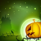 Halloween night background with scary pumpkin and silhouette of — Stock Vector
