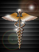 Abstract medical background with 3D caduceus medical symbol. EPS — 图库矢量图片