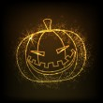 Shiny illustration of scary Halloween pumpkin. EPS 10. — Stock Vector