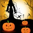 Spooky Halloween background with witch silhouette and scary pump - Stok Vektör