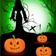 Spooky Halloween background with witch silhouette and scary pump - Stockvektor
