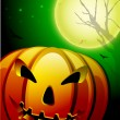 Scary pumpkin in the Halloween night background. EPS 10. - Stock Vector