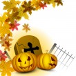 Halloween background with scary pumpkin, grave stone and autumn  — Stock Vector