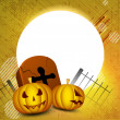 Scary Halloween pumpkins with gravestone. EPS 10. — Stock Vector