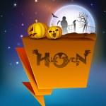 Halloween moonlight night banner with pumpkins. EPS 10. — Stock Vector