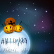 Stock Vector: Halloween moonlight night background with pumpkins and graveston