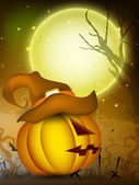 Scary pumpkin wearing witch hat in the Halloween night. EPS 10. — Stock Vector
