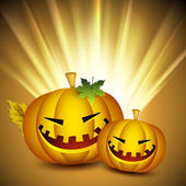 Scary Halloween pumpkins on shiny rays background. EPS 10. — Stock Vector