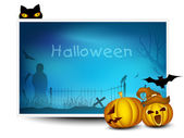 Halloween banner with scary pumpkins and black cat. EPS 10. — Stock Vector