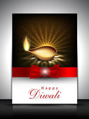 Greeting card with diya for Diwali festival in India. EPS 10. — Stock Vector