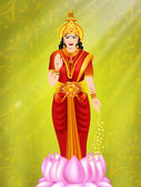 Ilustração da deusa hindu lakshmi. eps 10. — Vetor de Stock
