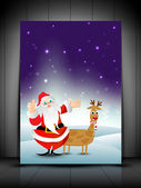 Greeting card, gift card or invitation card with Santa and reind — Stock Vector
