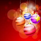 Stiliserade hängande xmas bollar på röd bakgrund för merry jult — Stockvektor
