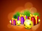 美丽快乐圣诞背景与礼品盒包装的机智 — 图库矢量图片