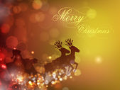 Santa Clause sleigh and reindeer's on snowflake background for M — 图库矢量图片