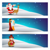 Website header or banner set with Santa, reindeer and snow man. — Stock Vector