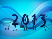 Happy New Year background with 2013 text as a human being enjoyi — Stock Vector