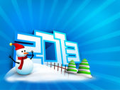 Snowman and Xmas trees decorated background for 2013 Happy New Y — Stock Vector