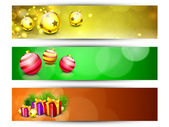 Website Headers or Banners for Happy New Year and Merry Christma — Stock Vector