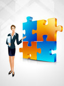 Corporate woman on a solved business puzzle background. 3D busin — Stock Vector