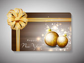 Gift card for Happy New Year celebration with ribbon. EPS 10. — Stock Vector
