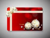 リボンと幸せな新年のお祝いのためのギフトカード。eps 10. — ストックベクタ