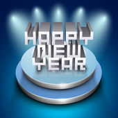 3D Happy New Year text on stage on shiny blue background. EPS 10 — Stock Vector