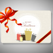 Beautiful decorated gift card with ribbon for Merry Christmas ce — Stockvectorbeeld