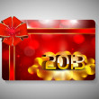 Gift card for Happy New Year celebration with pink ribbon. EPS 1 - Imagen vectorial