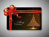 Mooi ingerichte gift card met lint voor vrolijk kerstfeest ce — Stockvector