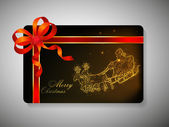 Beautiful decorated gift card with ribbon for Merry Christmas ce — Stock Vector