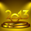 Stylized golden 2013 on stage, New Year celebration background. — Stockvectorbeeld