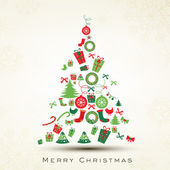 Beautiful Xmas tree for Merry Christmas celebration. EPS 10. — Stockvector