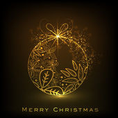Decorative Xmas balls on shiny snowflakes background for Merry C — Stock vektor
