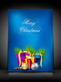 Merry Christmas greeting card, invitation card or gift card deco — Stock Vector